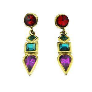 Long Rainbow Rhinestone Earrings